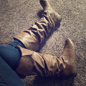 Brown Faux-Leather Boots